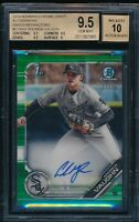 BGS 9.5/10 ANDREW VAUGHN AUTO 2019 Bowman Chrome GREEN REFRACTOR /99 RC GEM MINT