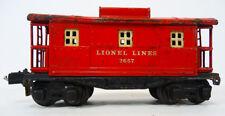 Vintage LIONEL O SCALE MODEL TRAIN CABOOSE  #2657 (1940's) 'Lionel Lines' TIN