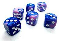 5 RPG Würfel Spiel Kniffel Yahtzee Knobeln W6 16mm DSA Blau Pink dice4friends