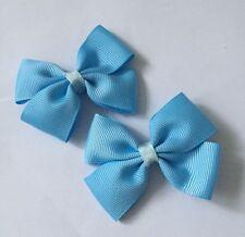 2 Packs Of Sky Blue Big Bow Hair Clips/aligator Clip/schools Uniform