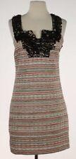 Milly of NY Bronze Brown Sequin Neckline Stripe textured Sz 6 Sheath Dress