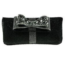 Mary Frances Nocturne Silver Black Bow Clutch Bag Beaded Handbag Purse New