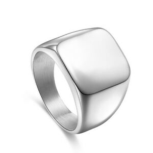 Men's Solid Polished Stainless Steel Band Biker Fashion Signet Ring Black Silver