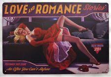 """Plaque Métal Tolée Vintage Pin-Up """"Love And Romance"""" 20 cm X 30 cm Neuf"""