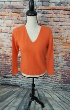 Talbots Women's Long Sleeve Orange V-Neck Pure CASHMERE Pullover Sweater Sz PS