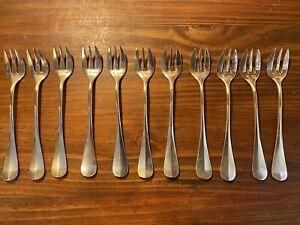 11 fourchettes à gâteau ou huitres en métal argenté Ercuis modèle baguette