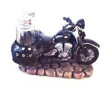 Black Motorcycle Biker Spice Road Salt &Pepper Shakers Holder Decor Figurine NIB