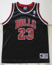 L Youth Champion Michael Jordan Chicago Bulls NBA Basketball Jersey Black VTG