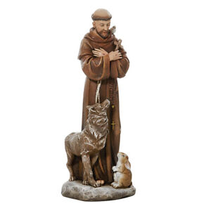 "Statue Saint Francis and the Wolf of Gubio Resin 8"" H"