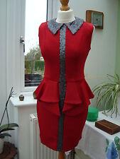 Collar rojo con lentejuelas Vestido de Peplum