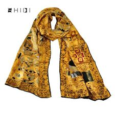 100% Silk Long Scarf Wrap Shawl Oil Painting Gustav Klimt's Adele Bloch-Baue I