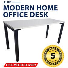 Elite Modern Home Office Desk Black Frame White Desk Top