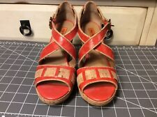 Miz Mooz Kenya Women's Shoes Platform Red Pumps Sandals Cork Wedges Size 6.5,euc