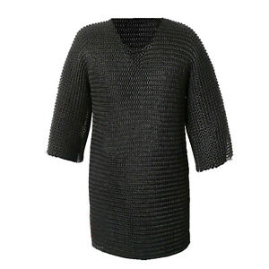 Chainmail Shirt Flat Riveted with Washer Black Chain Mail Hauberk XXL Size Sale