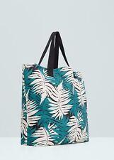 MANGO shopping bag tropical print borsa maxi borsone fantasia tropicale BNWT