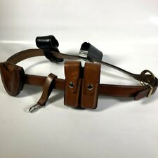 Aker B21 44 Leather Security Gun Belt With Bianchi 20c Ammo 34 Handcuff Mace Pouch