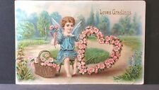 Loves Greetings Eas 1911 Valentine Post Card Cherub Heart of Forget Me Nots