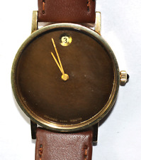 Movado Swiss Zenith Brown Date Museum Dial 2572 17J Manual Wristwatch 34mm 14k