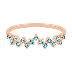 18k Rose Gold 0.28 Studded Blue Topaz Band Ring Jewelry Gift