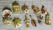 Vintage Christmas Ornament Lot of 10 German Figural Flocked Mercury Paper Mache
