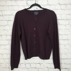Chelsea & Cambell Sweater Cardigan 100% Wool Small Long sleeve Maroon Small