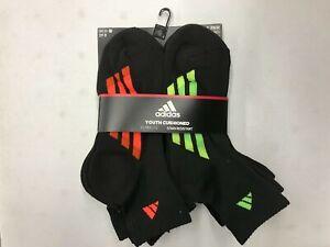 adidas Youth Kids Cushioned Socks Size L US Shoe 3Y-9 Black 6 Pairs