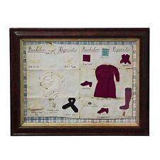 Mid 19th Century Framed 'Bachelor's Requisites'. Antique Needlework Textile.