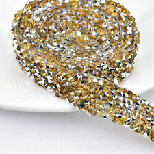 1 Yards Rhinestone Chain Beaded Iron On Applique Trim Wedding Bridal Dress DIY