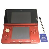 Nintendo 3DS Handheld System Flame Red Good Condition Stylus Charger 2GB SD