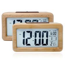 LED madera de bambú despertador digital alarma despertador reloj iluminado schlummerfunktion LCD