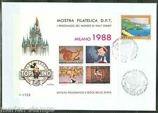DISNEY MILAN 1988 STAMP EXPO MICKEY MOUSE SHEET RARE ON FIRST DAY COVER AS SHOWN
