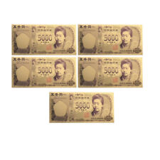 Holiday Gifts 5000 Yen Colorful 24k Gold Plated Japan Gold Banknote 5pcs/set