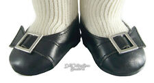 Black Colonial Buckle Shoes for American Girl Elizabeth Caroline Doll Clothes