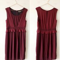 JIGSAW Burgundy Red Maroon Silk Contrast Draped Shift Dress 12 Work Smart Chic