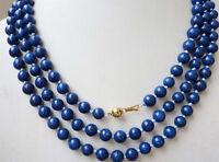 """Fashion 8mm Blue Lapis Lazuli Dark Blue Round Beads Gemstones Necklace 54"""" 14k"""