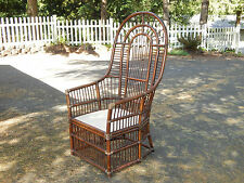 Amazing Vtg Mid Century Rattan Bamboo Peacock Side Accent High Back Wicker Chair  Local