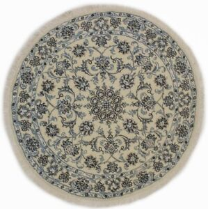 Thick Pile Floral Classic Round Rug 5X5 Cream Oriental Wool Home Decor Carpet