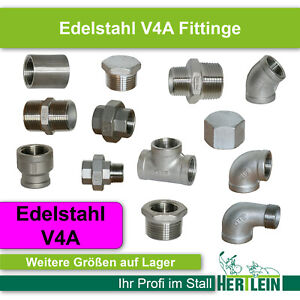 Gewindefittinge VA Edelstahl V4A Fitting Wasserleitung Verschraubung WinkelMuffe