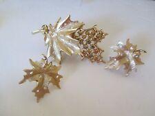 """Vintage Sarah Coventry GoldTone Amber Rhinestone Leaf Pin Brooch 3"""" earrings-749"""
