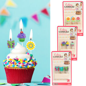 6pc Cutesy Candlez Fun Cake & Cupcake Candles Kid Birthday Party Toppers