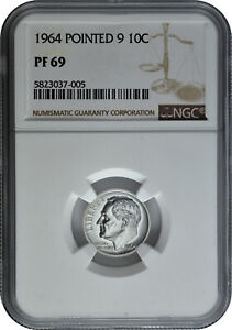 1964 Pointed 9 10c Silver Proof Roosevelt Dime NGC PF 69