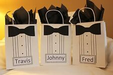 Personalized Groomsmen Gift bags - Set of 4 plus 4 matching thank you cards