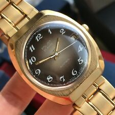 Luxury Soviet Style POLJOT Automatic Date USSR Gold Plated Formal Men Watch 18k