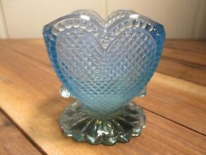 early BOYD CRYSTAL ART GLASS BEADED HEART TOOTHPICK HOLDER #5 CATHERDRAL OPAL
