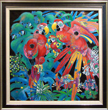 "Tie Feng Jiang ""Birds of Paradise""  w/custom frame on Canvas HAND SIGNED L@@K!"