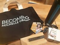 Michelle Obama Becoming VIP Merchandise - Tote Bag, Anastasia Beverly Hills etc