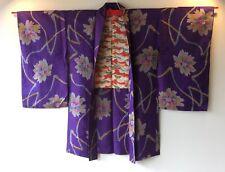 Vintage Japanese Kimono Haori Jacket Meisen Silk purple flower