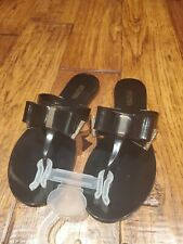 NEW Womens MICHAEL KORS KAYDEN JELLY FLIP FLOPS SANDALS BLACK WITH BOW Size 7 M