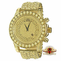 Canary Gold Tone Solitaire Lab Diamonds Custom Luxury Men BM Watch Iced Out Band