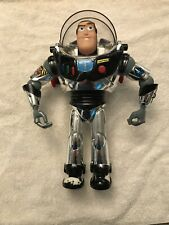 "Vintage 1995 Disney Thinkway Chrome Silver Talking Buzz Lightyear 12"" Figure"